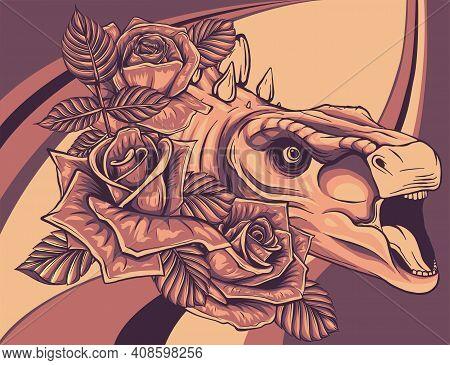 Dinosaurus Stegosaurus Head With Flower Vector Illustration Design