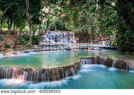 The Most Famous And Well Known Attraction At Kwang Si Includes A 4 Tiered Turquoise Water Pools With