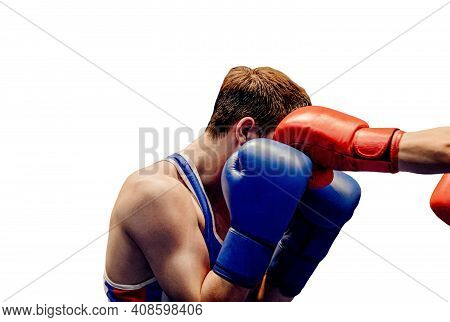Close Up Left Jab To Head In Boxing On White Background