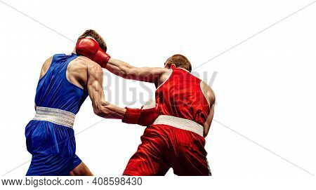 Boxing Match Boxers Exchange Of Blows On White Background