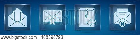 Set Outgoing Mail, Envelope With Star, Envelope And Delete Envelope. Square Glass Panels. Vector
