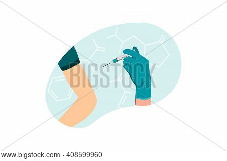 The Doctor Gives An Injection In The Shoulder, Arm Muscle. Coronavirus Vaccination, Doctor Injecting