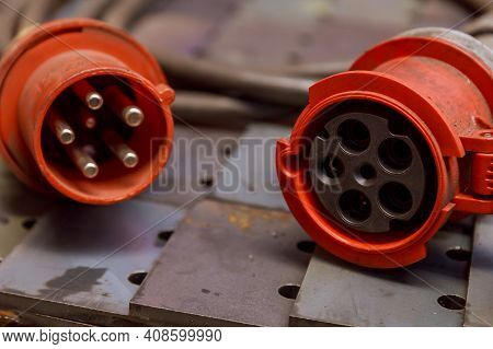 Red Three-phase Plug And Socket With Cable. 380 Volts.