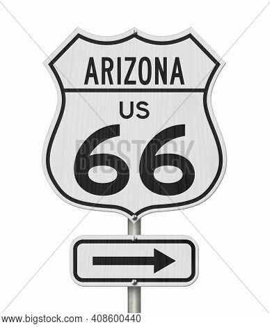 Arizona Us Route 66 Road Trip Usa Highway Road Sign Sign Isolated Over White 3d Illustration