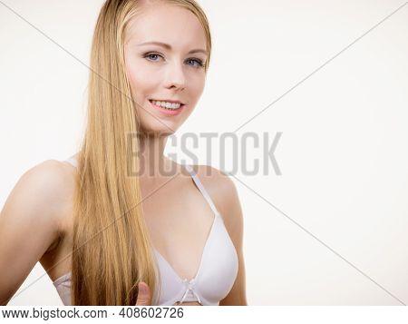 Girl Wearing White Bra