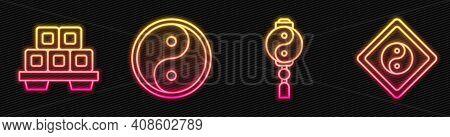 Set Line Yin Yang, Sushi On Cutting Board, Yin Yang And Yin Yang. Glowing Neon Icon. Vector
