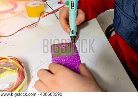 Boy Using 3d Pen. Happy Child Making Flower From Colored Abs Plastic. Creative Hobby At Home, Techno
