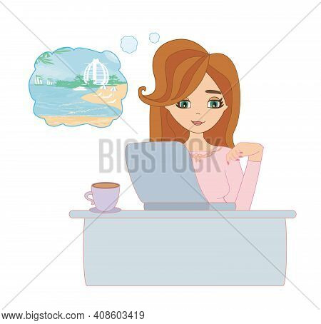 Secretary Dreams About Tropical Holidays , Vector Illustration