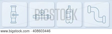 Set Line Industry Pipe And Valve, Bottle Of Water, Industry Pipe And Manometer And Industry Metallic