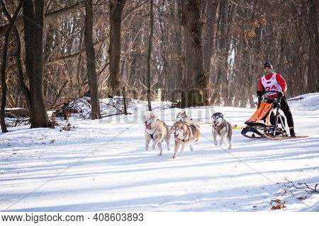 Saratov, Russia - 02.29.2020: Active Recreation On The Snow, Hobbies, Winter Sports, Healthy Lifesty