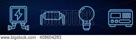 Set Line Light Bulb With Concept Of Idea, Electric Transformer, Resistor Electricity And Electrical