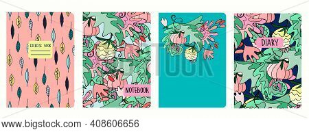 Set Of Cover Page Templates With Lush Tropical Vegetation, Hawaiian Style. Based On Seamless Pattern