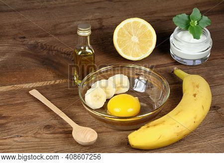 Perfect Ingredients For Homemade Facial Mask, Copy Space. Good Against Wrinkles. Yolk, Olive Oil, Ba