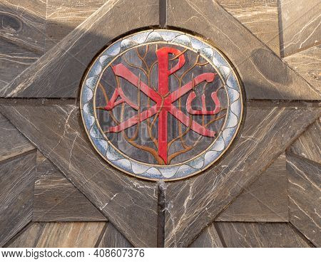 Nazareth, Israel - September, 6, 2018: This Is The Early Christian Sign On The Gates Of The Modern B