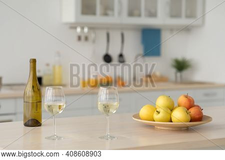 Modern Cozy Domestic Kitchen Interior. Fresh Vegetables On Dining Table, Homeowners Prefers Healthy
