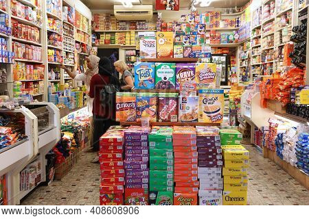Amsterdam, Netherlands - July 10, 2017: Selection Of American Cereals And Food In A Specialty Intern