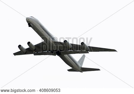 Classic Jet Airplane In Flight Isolated On White Background