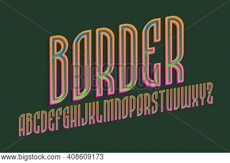 Alphabet Of Blue Green Letters With Orange Pink Volumetric Borders. 3d Display Oblique Font. Isolate