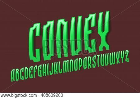 Volumetric Alphabet Of Green Convex Letters In Old Slavic Style. 3d Display Oblique Font. Isolated E