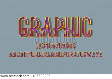 Graphic Volumetric Yellow Orange Alphabet, Numbers And Currency Signs With Purple Diagonal Hatching
