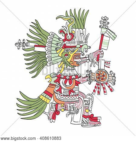 Huitzilopochtli, Aztec God, As Depicted In Codex Telleriano-remensis In 16th Century. Deity Of War,