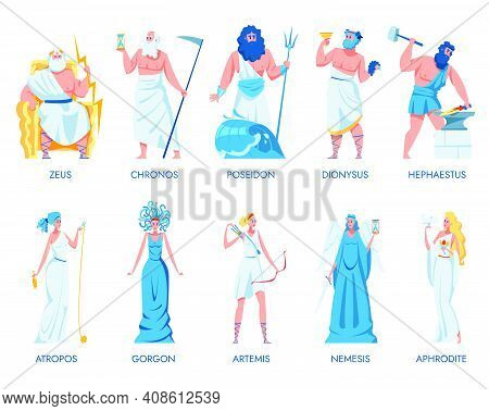Ancient Greek Gods And Goddesses Set. Zeus, Dionysus, Artemis, Hephaestus, Chronos, Atropos, Gorgon,