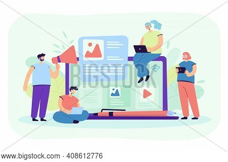 Bloggers And Influencers Writing Articles And Posting Content. Blog Authors Using Laptops, Shouting
