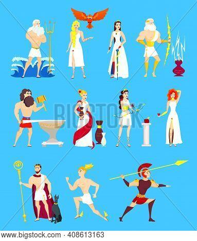 Cartoon Greek Gods Set. Ancient Olympian Heroes Isolated On Blue Background. Poseidon, Zeus, Hephaes
