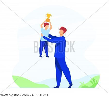 Dad And Son Celebrating Boys Triumph. Man Lifting Kid Holding Winners Cup. Flat Vector Illustration.