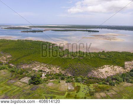 Uninhabited Tropical Islands In Indian Ocean. Aerial View Of Pemba Island, Zanzibar. Tanzania. Afric