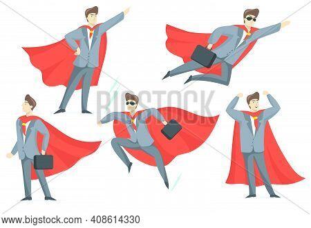 Experienced Businessman In Superhero Costume Flat Set For Web Design. Cartoon Super Boss In Suit In