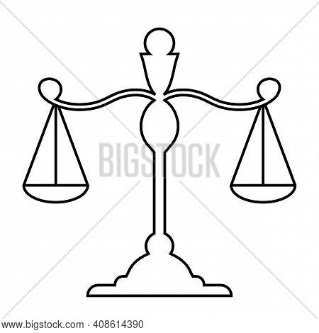 Libra. Scales Linear Silhouette. Scales Icon. Isolated Element On A White Background. Scale Tilt, Ov