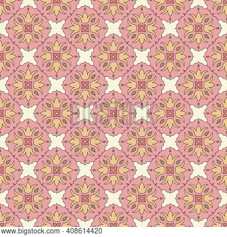 Seamless Pattern From Round Ceramic Tiles. Geometric Pattern With Lotus Flowers And Leaves. Portugue