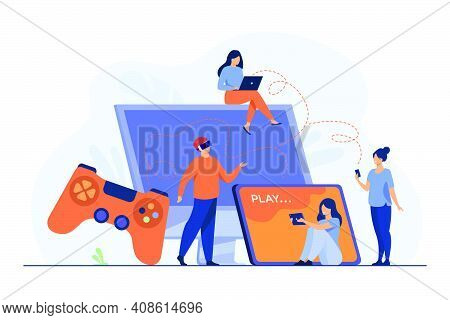 Gamers Using Different Devices And Playing On Mobile Phone, Tablet, Laptop, Console. People Enjoying