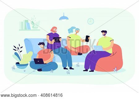Group Of Friends With Digital Devices Meeting At Home, Sitting Together. People Using Laptops, Table