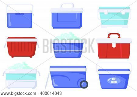 Handheld Ice Cooler Boxes Flat Set For Web Design. Cartoon Iceboxes And Containers For Picnic Isolat