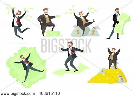 Happy Rich Man Playing With His Money Flat Set For Web Design. Cartoon Millionaire Or Banker Having
