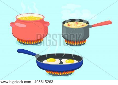 Hot Pot, Saucepan And Pan On Gas Stove Flat Set For Web Design. Cartoon Food Prepared On Kitchen Iso