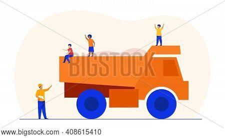 Kids Playing On Construction Truck. Dumper, Danger, Careless Children. Flat Vector Illustration. Bui