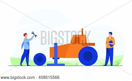Mechanic Repairing Farmer Tractor Outside. Changing Wheel, Tire, Tool. Flat Vector Illustration. Roa