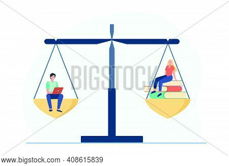 Online And Offline Learning Comparison. Students With Laptop Or Stack Of Books On Balance Scale. Fla