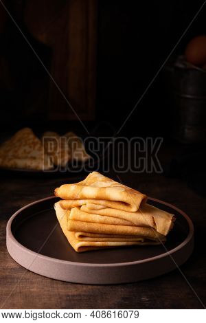 Close Up Of Freshly Baked Pancakes On A Plate