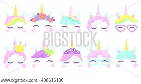 Pretty Pony Unicorns Faces Flat Set For Web Design. Cartoon Cute Head Costumes For Party Of Little G