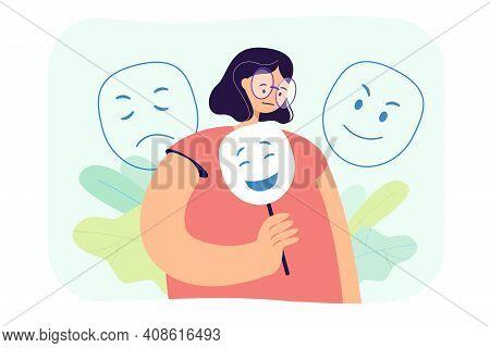 Sad Woman Hiding Emotions Under Mask Flat Vector Illustration. Cartoon Miserable Character With Fals