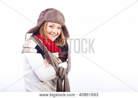 woman  wearing different scarfs and hat