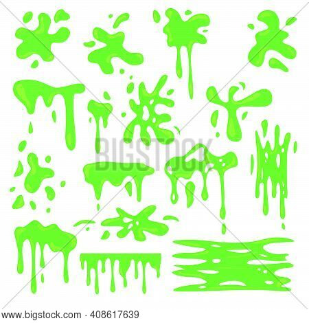Toxic Various Green Slime Flat Set For Web Design. Cartoon Slimy Goo Splashes, Blobs And Mucus Drops
