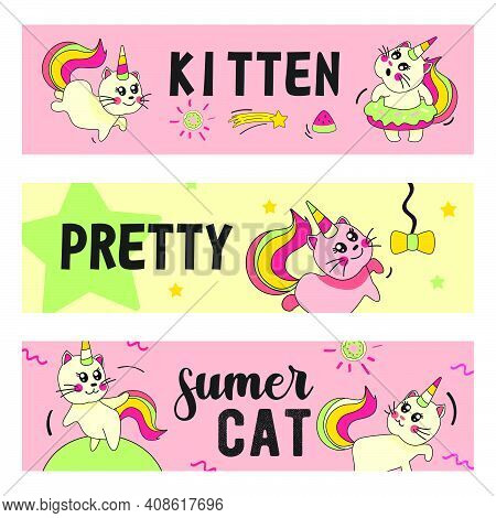 Unicorn Cat Banners Set. Funny Cartoon Summer Baby Kitten With Rainbow Horn And Tail Vector Illustra