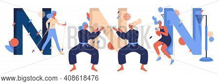 Vector Sport Letters N Collection. Women Training Nordic Walking, Netball, Ninjutsu Fighting Sparrin