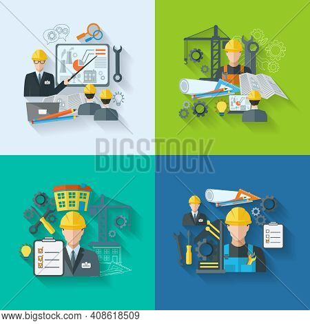 Engineer Construction Manufacturing Workers With Gears Drafts And Tools Flat Icons Set Isolated Vect