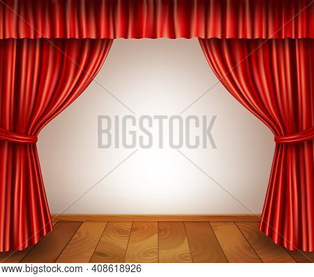 Theater Stage With Wooden Floor Red Velvet Open Retro Style Curtain Isolated On White Background Vec